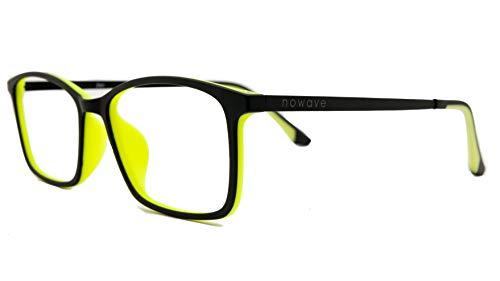 NOWAVE Gafas Neutras para PC, Smartphone, TV y Gaming | Eliminan la Fatiga y la irritación Visual | Gafas Anti LUZ Azul y UV para Pantalla | Filtro luz Azul de Descanso para pc | Unisex y Ligera