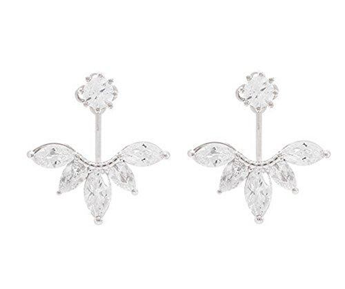 Sterling Silber Blume Ohrstecker Swarovski Kristall Nadel Ohr-Bolzen-Ohrring-Ohr-Jacke für Damen -Weiß