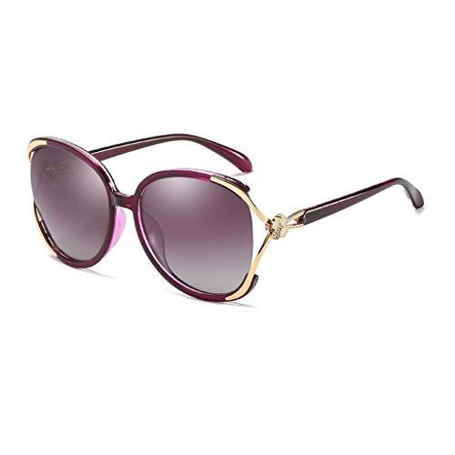 KISlink Fashion Women 's Large Frame Sonnenbrille Retro Elegant Polarized High-Definition-Objektiv UV-Schutz (Farbe: Lila/Lila)