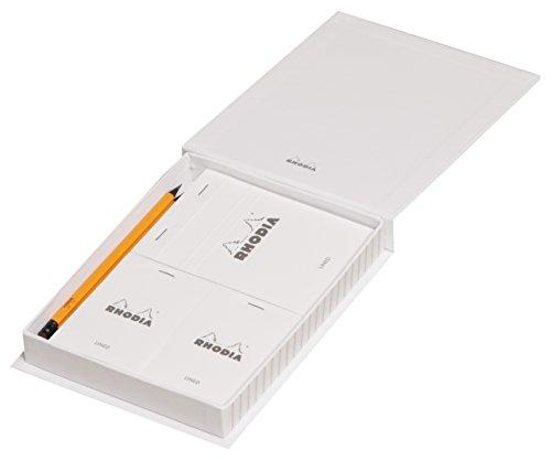 Clairefontaine Rhodia das Wesentliche Set 4Blöcke in geheftet liniert mit 2Bleistifte weiß