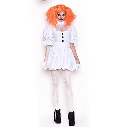 eid/Halloween Geist Puppe Clown Kostüm Erwachsene COS Leistung Kostüm Weißes Kleid Vampir Geist Braut Einschließlich Handschuhe Tie Gürtel Perücke,M ()