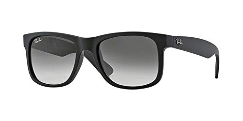 Ray-Ban JUSTIN RB 4165 601/8G Unisex Sonnenbrille, Rubber Black / Grey Gradient, L