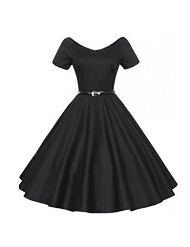 Bestgift Damen Retro Elegante Rockabilly Schwingen Kleider V-Ausschnitt Elegant Abendkleid Mit Gürtel Schwarz