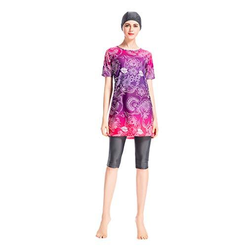 Lazzboy Frauen Muslimischen Badeanzug Mit Cap Printing Beachwear Bademode Muslimische Burkini Set Druck Elastischer Hijab Schnelltrocknendes Badekostüm Sonnenschutz(Rot,3XL) -