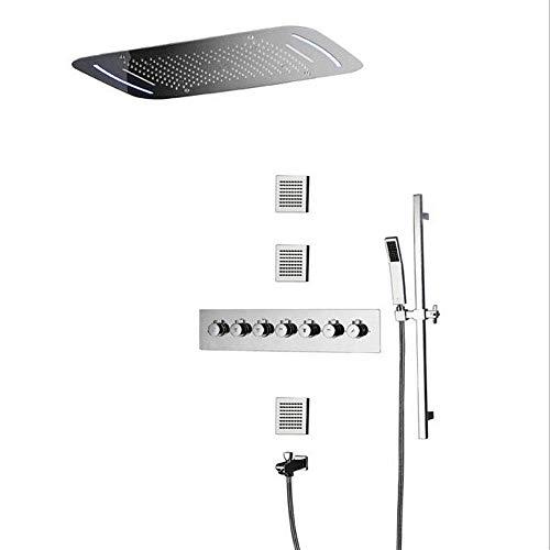 HUASHASHA Unterputz-Duschkupfer-Duschsystem-7-Funktions-LED-Thermostat-Duschbrause