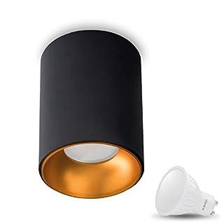 Aufbauleuchte Deckenleuchte Aufputz ASTRAL (Rund, Schwarz/Gold) Inkl. 1 x 7W LED Warmweiss GU10 Fassung 230V Deckenleuchte Strahler Deckenlampe Würfelleuchte CUBE Kronleuchter aus Aluminium Spot