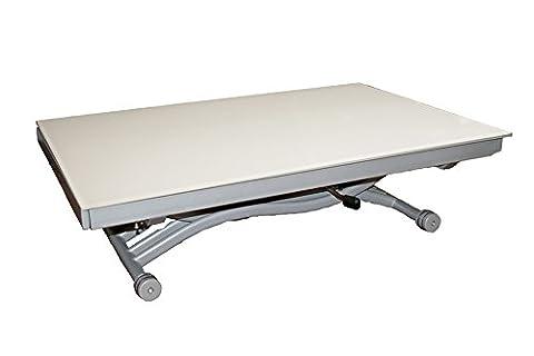 Table basse relevable à allonges Zen - Verre Blanc