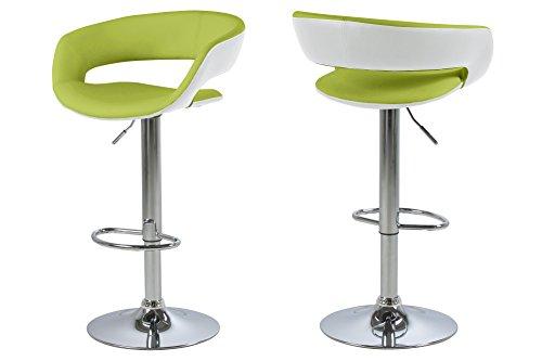 AC Design Furniture 0000058028 Barhocker Jack 2er Set, Sitz, Rücken Lederlook, Rückenteil, weiß  lime