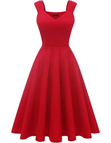 Dresstells Damen 1950er Midi Rockabilly Kleid Vintage V-Ausschnitt Cocktailkleid Faltenrock Red S -