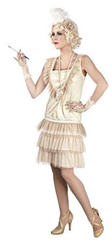 Confettery - Damen 20er Jahre Charleston Kleid, Kostüm, Karneval, Creme, Größe XS