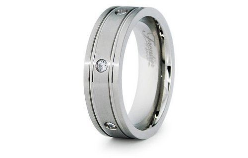 Personalized fede nuziales incisione titanio con zirconi 7 millimetri, misura 28