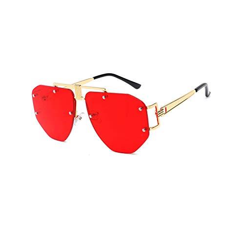 Vikimen Sportbrillen, Angeln Golfbrille,Oversized Frameless Sunglasses Ladies Women Luxury Metal Punk Sun Glasses Men Brand Design UV400 Goggles Oculos Q67 Gold-Red