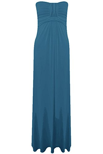 Pure Fashion Damen Maxikleid Ärmellos Mehrfarbig Teal Plain Viscose