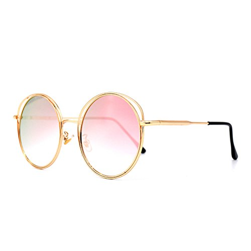c58b9638911 HKUCO Gold Color Round Metal Frame Double Circle Design Pink Mirrored Lenses  Sunglasses