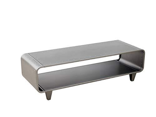 Dipamkar® Dipamkar® Metal TV Cabinet Stand, Mesas para TV, Mesa de centro, Mesa multifuncional, Estilo industrial simplificado, Carcasa de metal cepillado Acero gris
