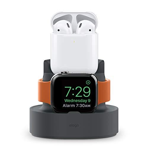 on [Dual-Ladeständer] [Kabelmanagement] [Premium-Material] Kompatibel mit Apple Watch 38, 42, 40, 44mm (Serie 1, 2, 3, 4), AirPods, iPhone XS Max, XR, XS, X, 8 und mehr ()