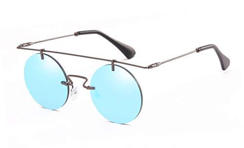 Daawqee Rimless Steampunk Sunglasses Round Shades Men Women Designer Glasses Fashion Summer Style Vintage Eyewear UV400 Gun gray w blue