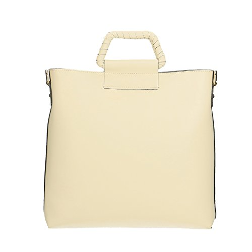 Chicca Borse Borsa a tracolla in pelle 32x31x8 100% Genuine Leather Beige