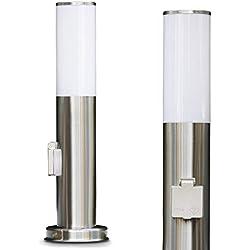 Borne d'éclairage Caserta en acier et plastique étanche avec une prise intégrée, luminaire d'extérieur (IP44) de 45 cm de haut pour une ampoule E27 max.15 Watt, compatible ampoules LED