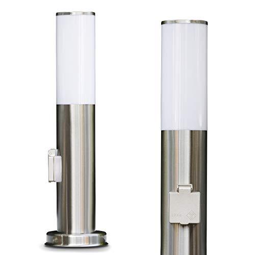 Borne d'éclairage extérieur en acier | lampadaire avec prise | en argent et blanc | lampe d'extérieur pour le jardin avec douille E27