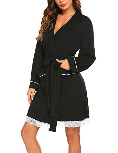 MAXMODA Damen Morgenmantel Bademantel Nachtwäsche Kimono Schlafanzug Sexy Spitze Nachtwäsche Saunamantel Mit Tiefer V-Ausschnitt