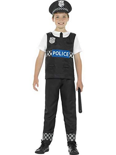 Halloweenia - Jungen Kinder Polizei Polizist Kostüm Oberteil Hose und Mütze, perfekt für Karneval, Fasching und Fastnacht, 158-170, Schwarz