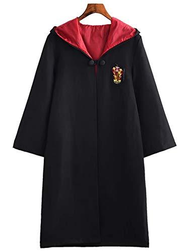 Monissy Harry Potter Kostüm Kinder Erwachsene Umhang Zauberstab Gryffindor Hufflepuff Ravenclaw Slytherin Set Fanartikel Weste Krawatte Schal Brille Halskette Karneval Verkleidung Fasching Halloween (Gryffindor Halloween Kostüme)