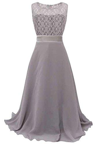 Ballett Rapunzel Kleid (OMZIN Mädchen Kleid Elegante Spitze Langes Festzug Kleider Grau 13-14)