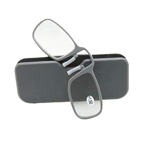 YUNCAT Unisex Zwicker Lesebrille Mini Brille Ohne Bügel für Damen und Herren 6 Dioptrien Stärke mit Brillenetui Hardcase