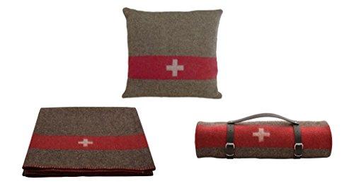 !!! TOP Qualität !!! Set aus Original Schweizer Armeedecke + Kissen, Outdoordecke 140 x 200 cm mit Packriemen in Leder + Kissenüberzug 45x45cm. Extrem strapazierfähig und waschbar bei 30 Grad.