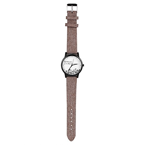 Sonew Klassische Armbanduhr \'Whatever I m late anyways\' Mode Quarz Zifferblatt Uhr Analog Uhr Tuch PU Band(Hellbraun)