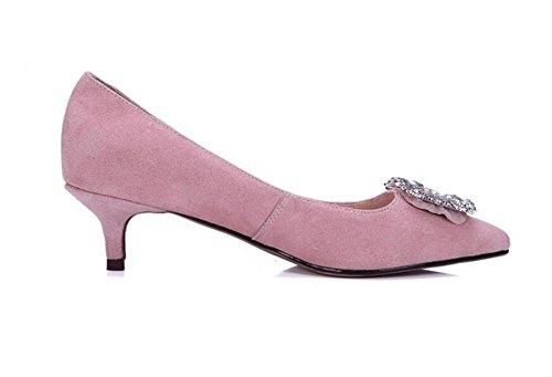 Womens scarpette con tacco sottile diamante da sposa opaco di temperamento dei pattini casuali eleganti pink