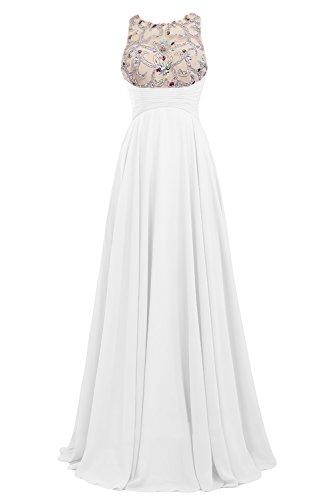 Gorgeous Bride Beliebt Empire Rundkragen Lang Chiffon Tuell Rueckenfrei Abendkleider Cocktailkleid Ballkleider Weiß