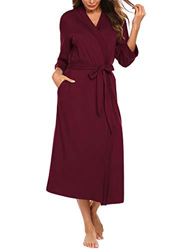 nmantel Dünn aus Baumwolle Kimono Satin Kurz Robe Bademantel Nachtwäsche Sleepwear V Ausschnitt mit Gürtel Navyblau M ()