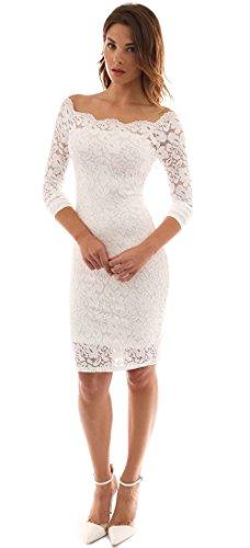 Mangotree Damen Vintage 50S Off Schulter Cocktailkleid Floraler Spitzenkleid Ladies Langarm Knielang Partykleid Pinup Rockabilly Kleid (S 32/34, Weiß) (Cocktail-anzüge Womens)
