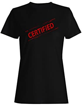 Certificado, día, divertido, sello, vendimia camiseta de las mujeres f486f