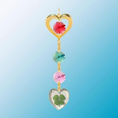 24K Gold Plated Hanging Sun Catcher or Ornament..... Heart Icon Hanging Charm With Heart Shaped Four Leaf Clover & Red Swarovski Austrian Crystals