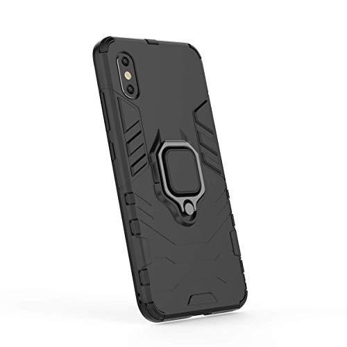 Funda Xiaomi Mi 8 Pro Carcasa Silicona Suave Negro TPU y Duro PC Case Anti-Arañazos, Anti-Golpes, con Anillo Grip Kickstand y Soporte de la función de Montaje teléfono Case (Mi 8 Pro, Negro)