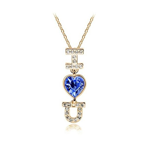 Collier I LOVE YOU coeur cristal swarovski elements plaqué or rose Bleu roi