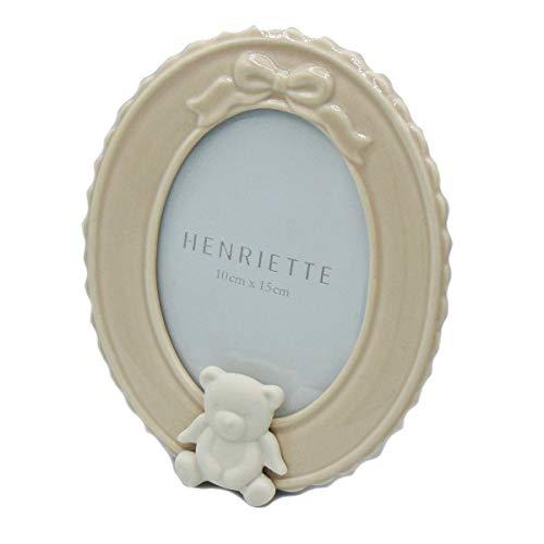 Henriette: cornice ovale azzurra orsetto d14646