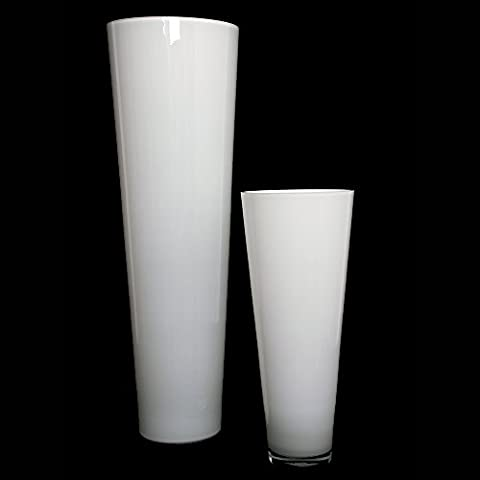 Große Konische Glas-Vase Konischer Zylinder weiß 43cm Ø 18cm. Bodenvase in weiß zur Dekoration und als Blumenvase von