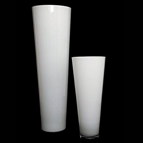 Glas-boden-vasen (Glasvase konischer Zylinder weiß 43cm Ø 18cm. Bodenvase Glas groß Vasen deko groß modern Glasvase rund als Blumenvase groß Bodenvase weiß in Opal-Glas von Glaskönig)