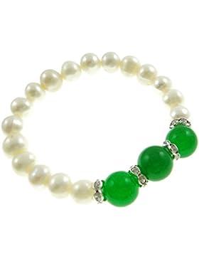 Süßwasserzuchtperlen Armband, natürlich, weiß, 10mm, grüner Jade 12mm