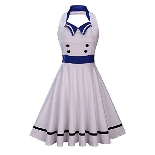 Soupliebe Frauen NäHte Kontrast Farbe GroßE Swing Kleid Retro Ärmelloses Halfter Kleid Abendkleider Cocktailkleid Partykleider ()
