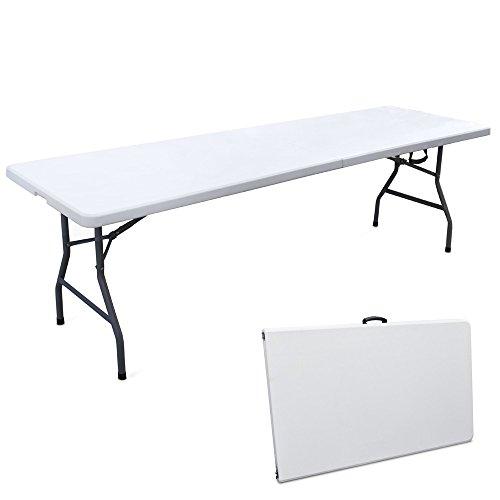 Tavolo 244x76cm resina metallo richiudibile a valigia pieghevole picnic 45064
