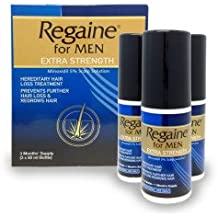 Regaine Men Extra Strength Solution - 3 Month Supply 5% Minoxidil Hair Regrowth Scalp Solution 3x60ml