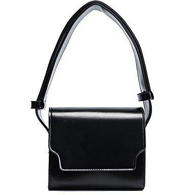 AIURBAG Damen Taschen Alle Jahreszeiten PU Baumwolle Umhängetasche Reißverschluss für Einkauf Normal Schwarz Kaffee black