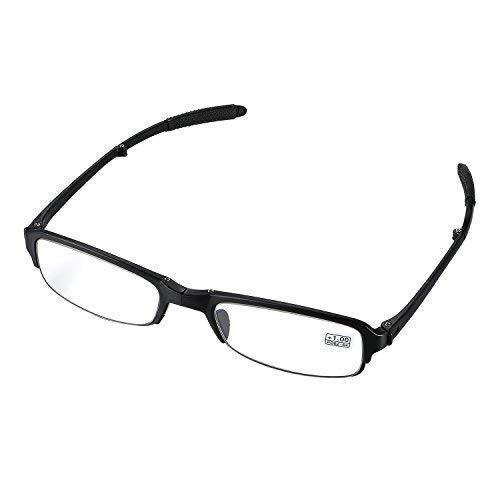 aroncent Dioptrie 1.00-4.00Lesebrille faltbar Kunststoff Harz Herren Damen Ermüdungsmatte Ultraleicht schwarz, Dioptrie wählbar Diottria 1.00