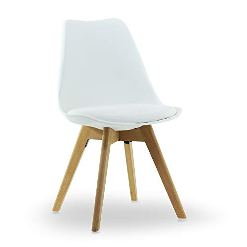 P&N Homewares, sedia da tavolo di Lorenzo Tulip in stile retrò, in plastica e legno (DSW) White