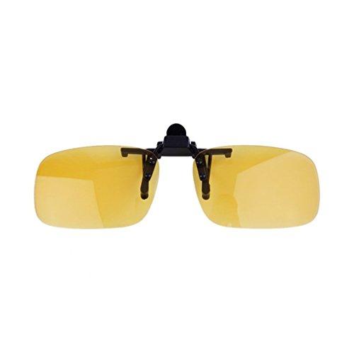 Driving Night Vision Gafas graduadas con lentes Flip-up Gafas para lentes con clip Unasex anti-UV 400 para mujeres y hombres - Yellow Night Vision L